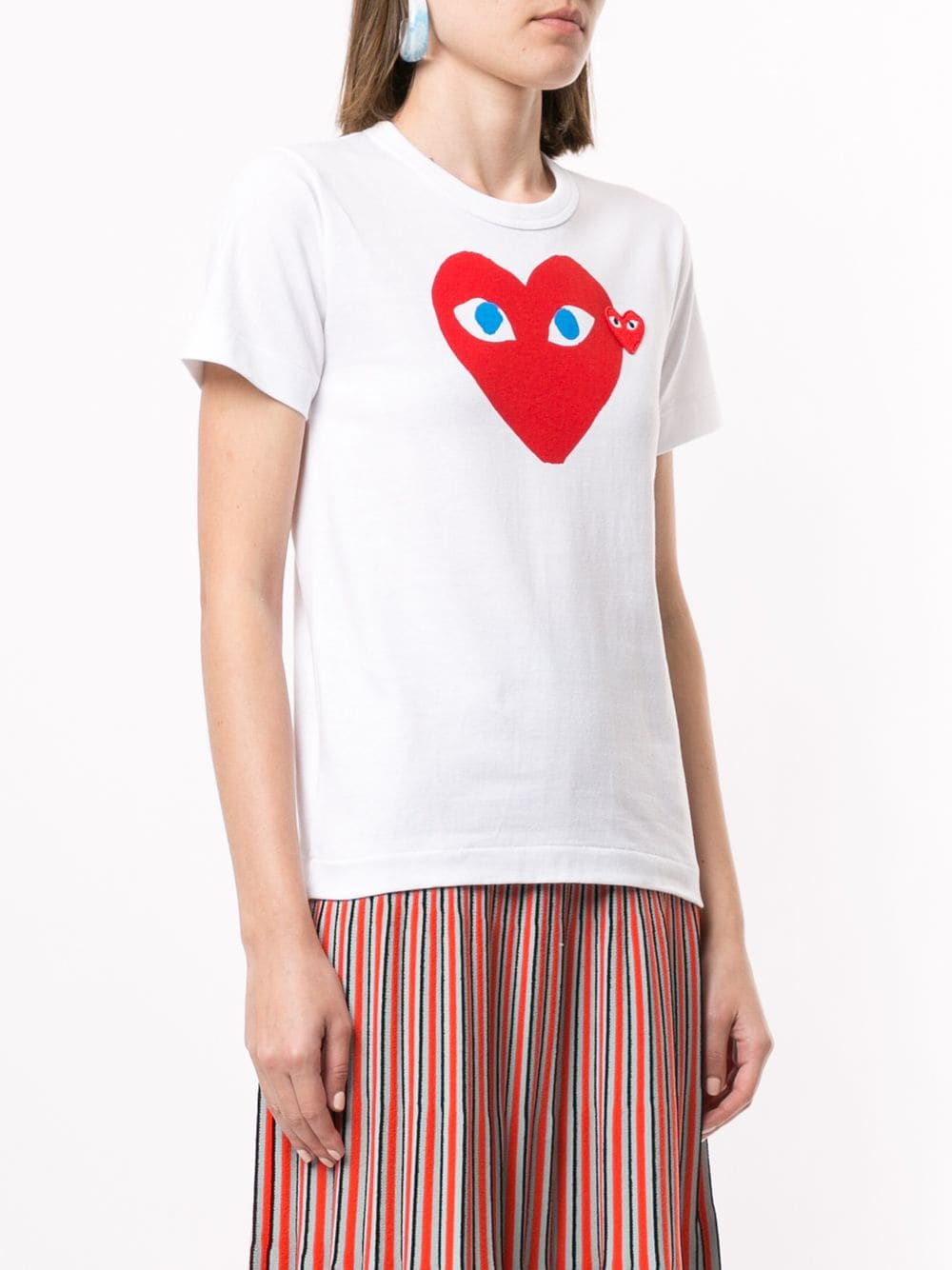 Picture of Comme Play   Heart Print Logo Patch T-Shirt