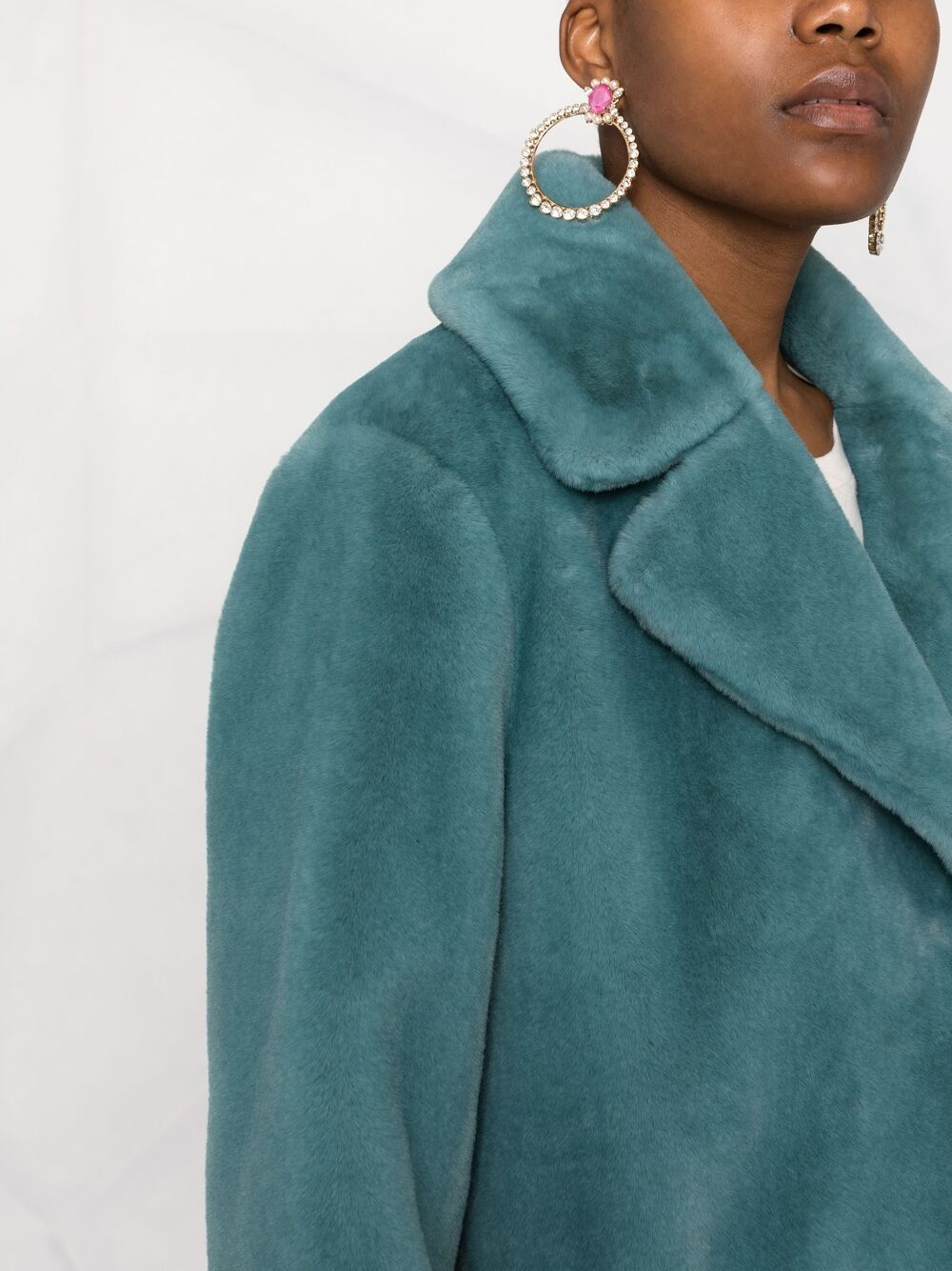 Picture of Forte_Forte   Faux-Fur Single Breasted Coat