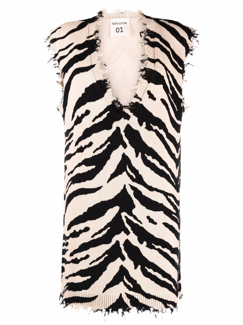Picture of Semicouture   Animal-Print Sleeveless Sweater