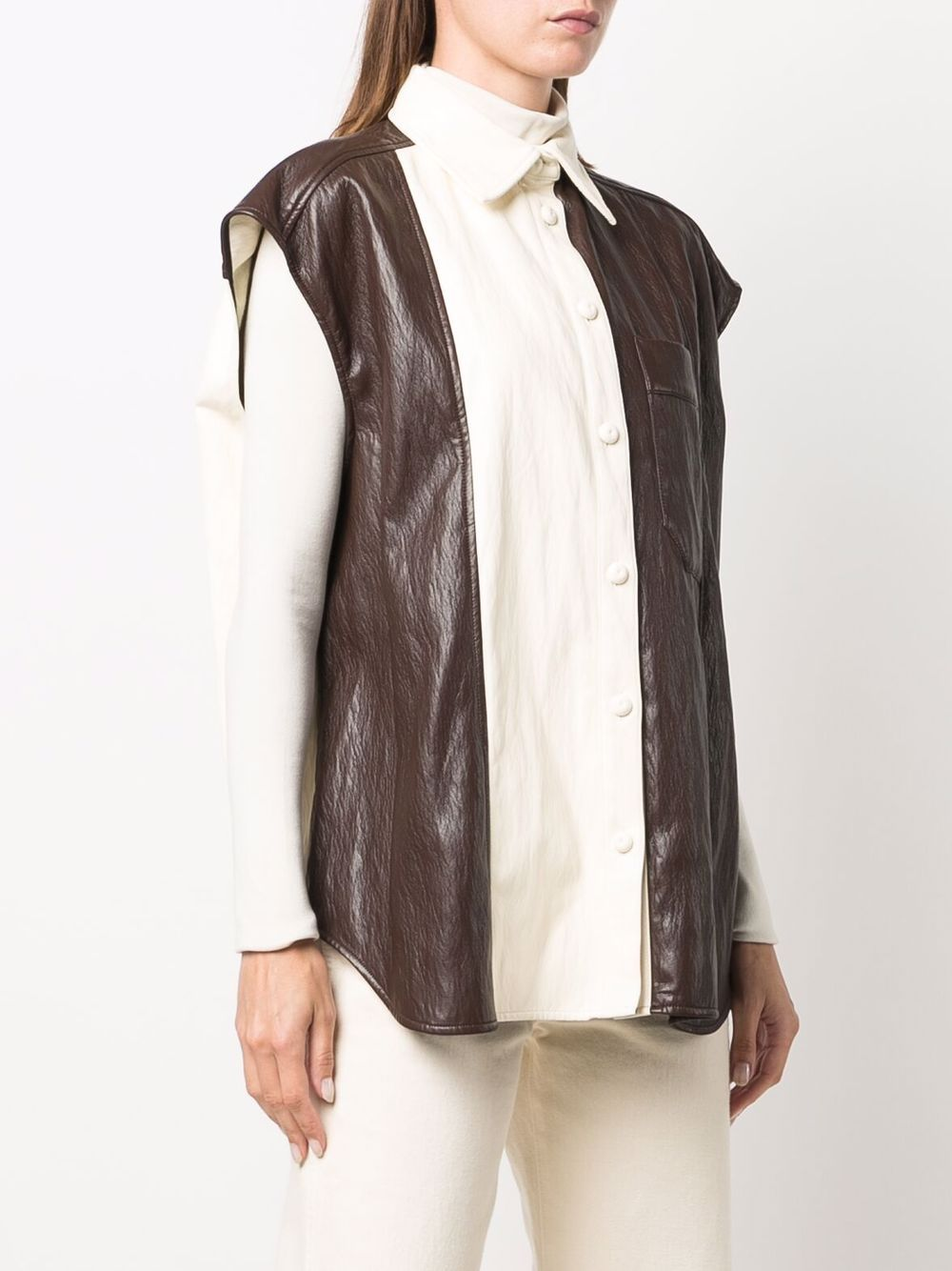 Picture of Erika Cavallini | Colour-Block Leather-Effect Shirt
