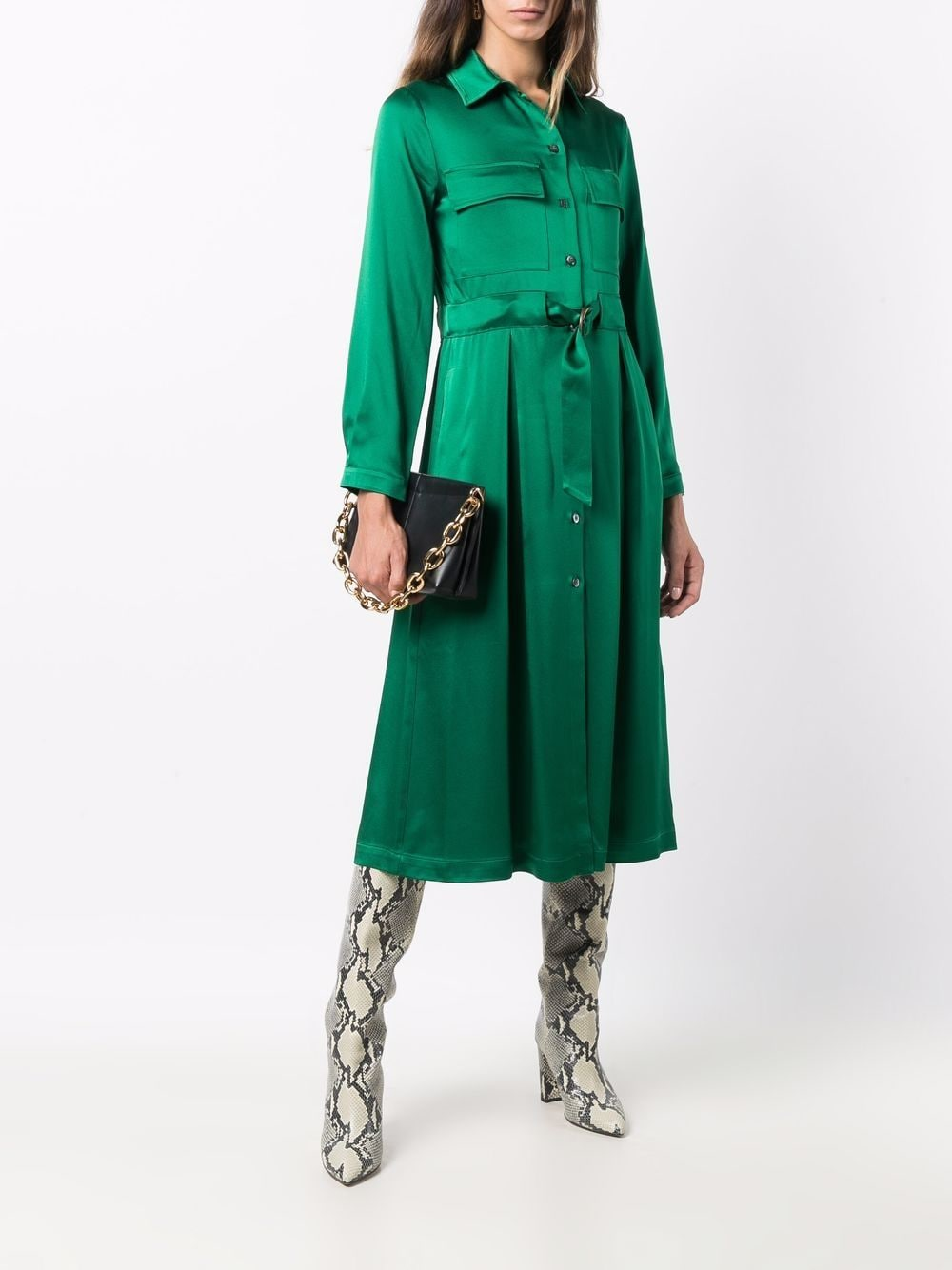 Picture of Semicouture | Belted Shirt Dress