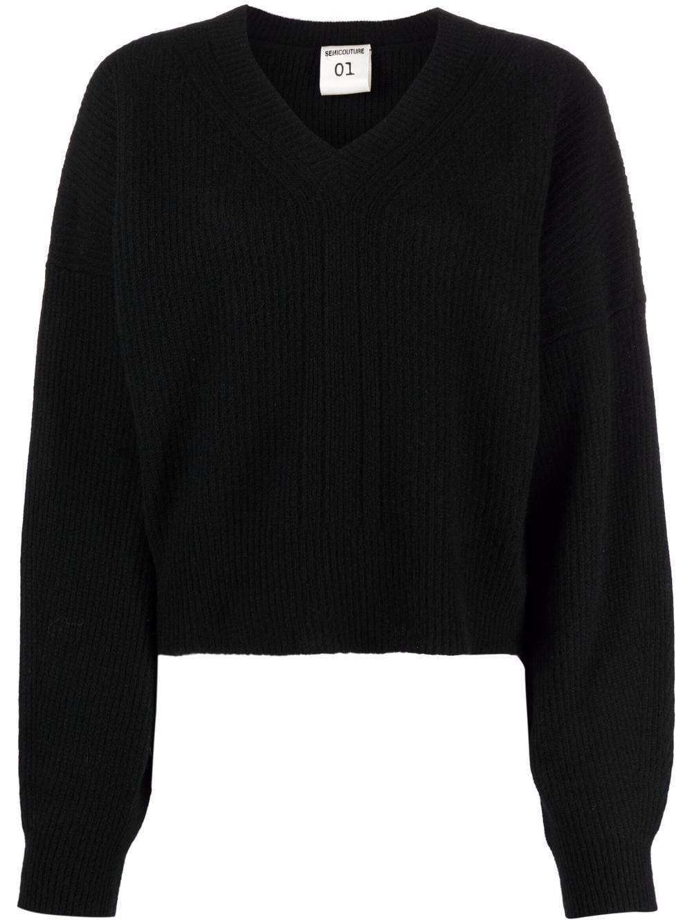 Picture of Semicouture | V-Neck Wool-Blend Knit Jumper