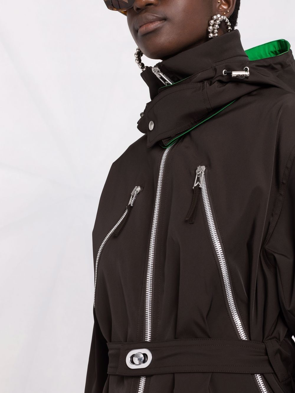 Picture of Bottega Veneta   Contrast-Trim Zip-Detail Hooded Coat