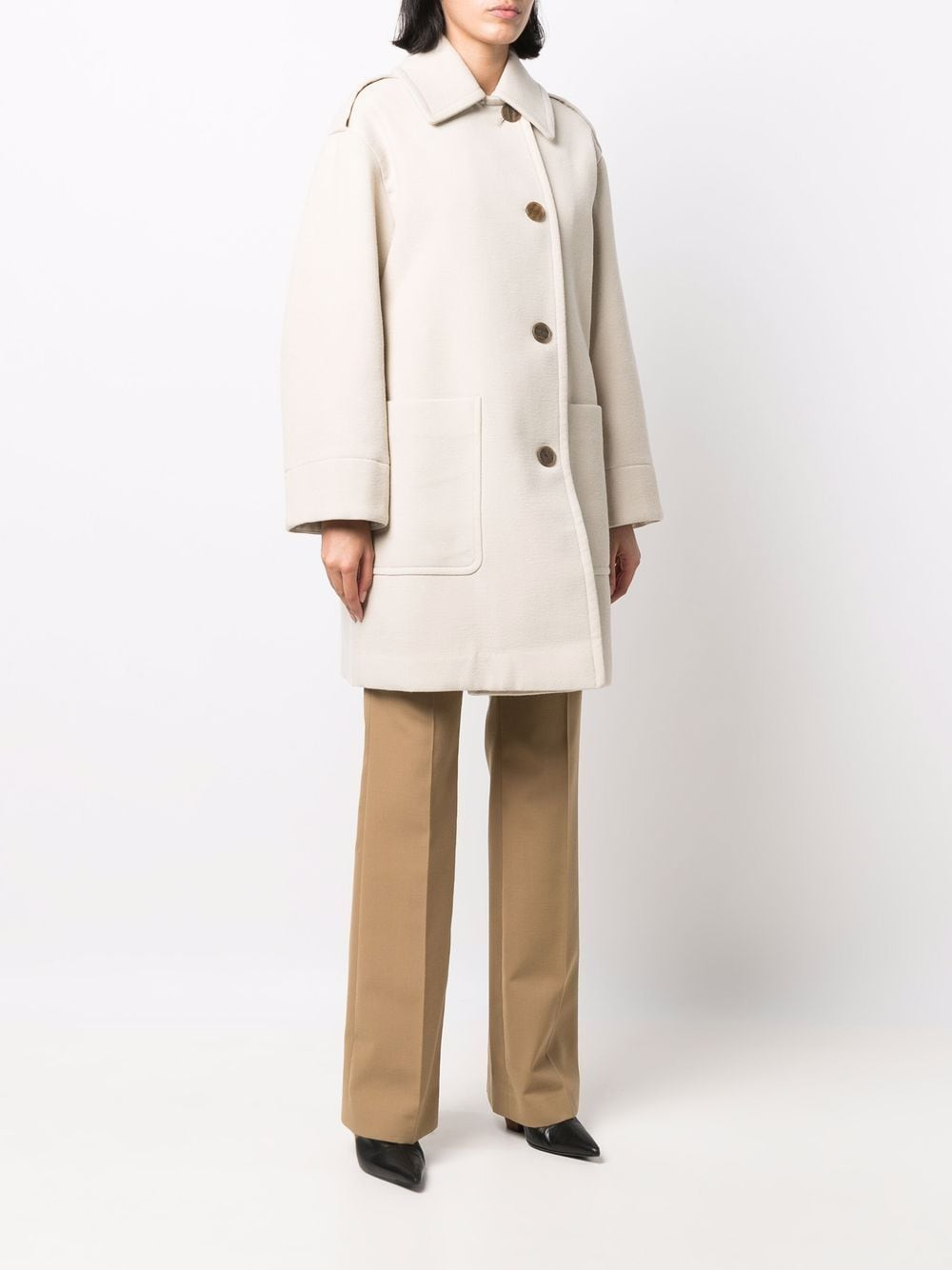 Picture of Vince   Button-Front Single-Breasted Mid-Length Coat