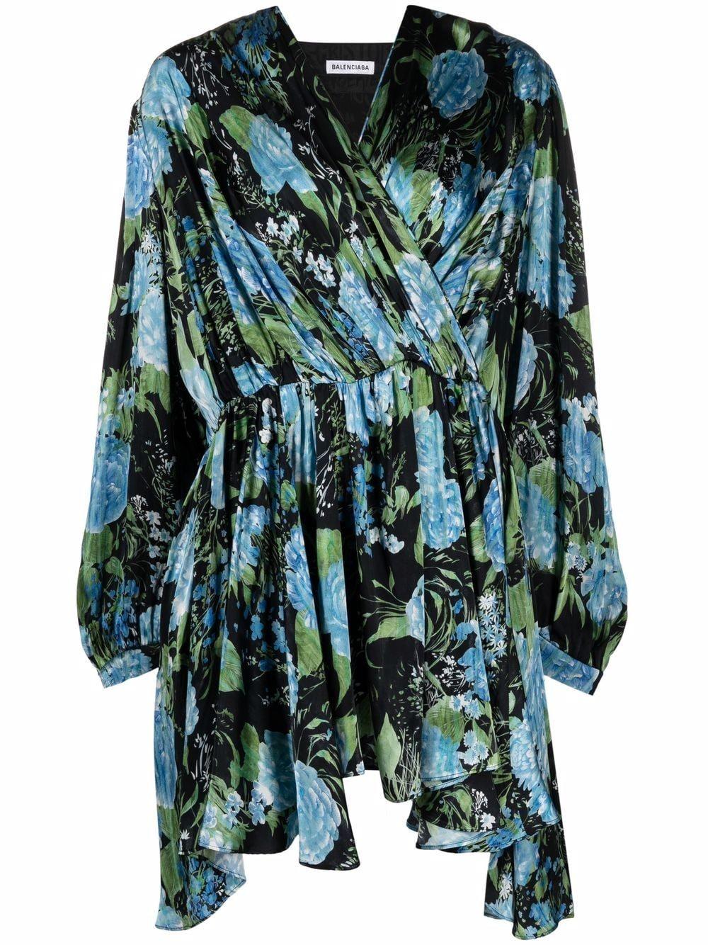 Picture of Balenciaga   Floral-Print Wrap Dress