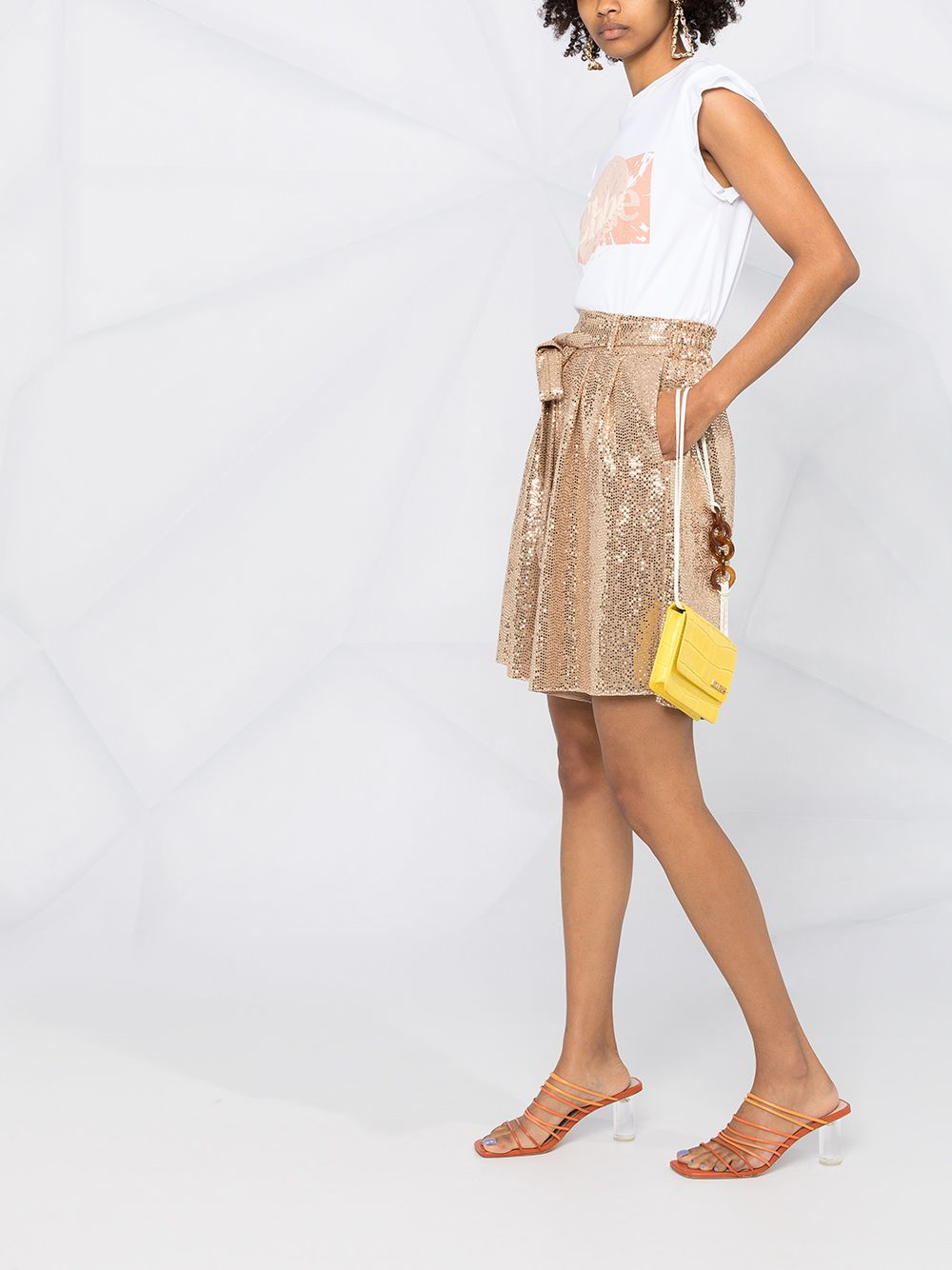 Picture of Forte_Forte | High-Shine Pleated Shorts