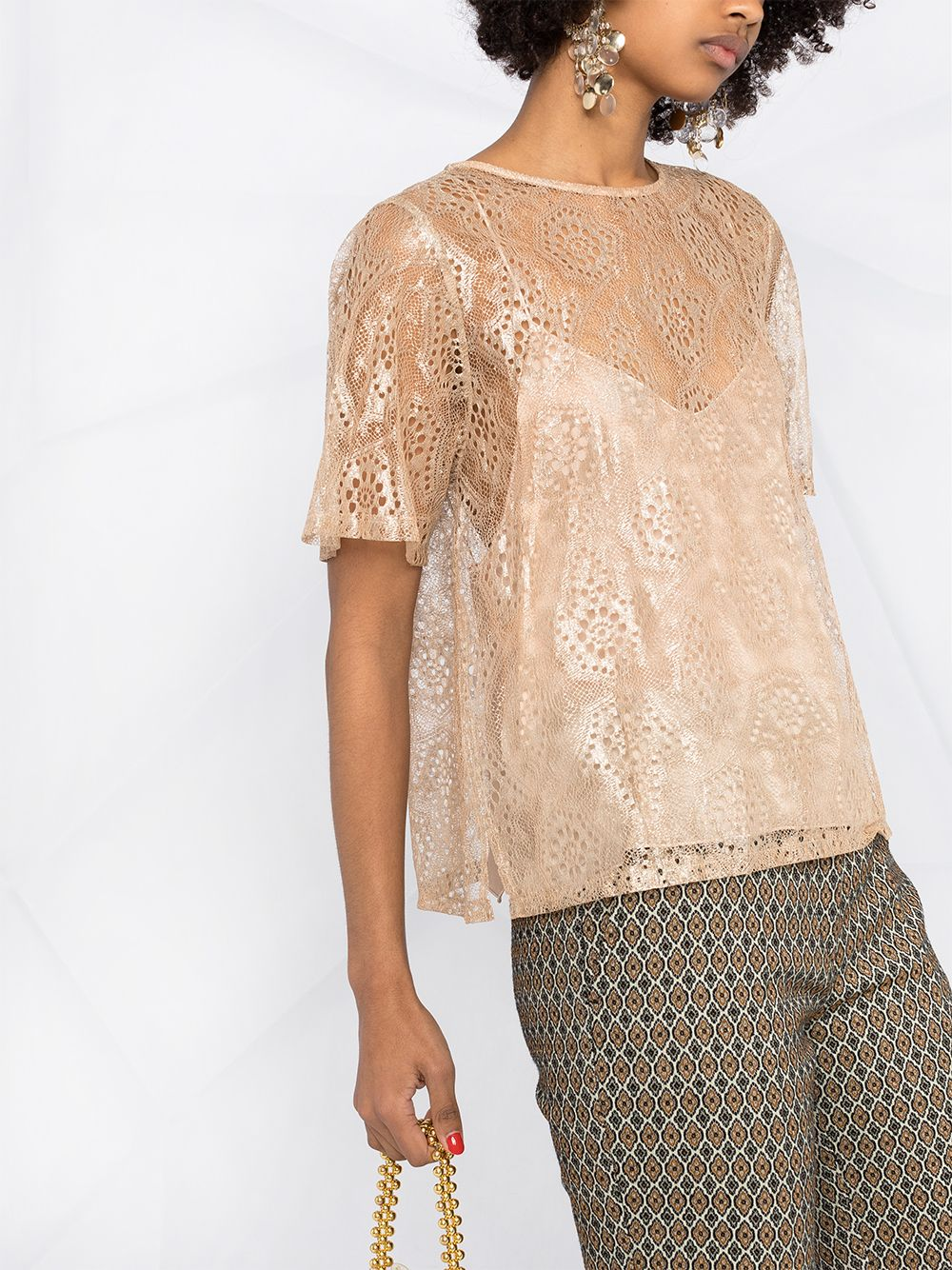 Picture of Forte_Forte | Lurex Chantilly-Lace T-Shirt
