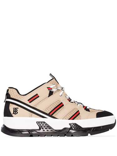 Picture of Burberry | Monogram Motif Mesh And Leather Sneakers