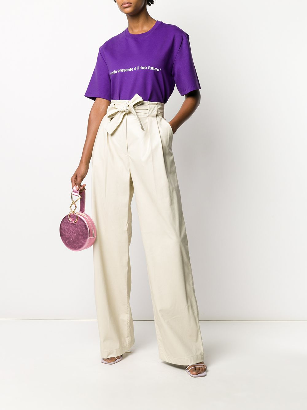Picture of Msgm | Leather Effect Palazzo Trousers