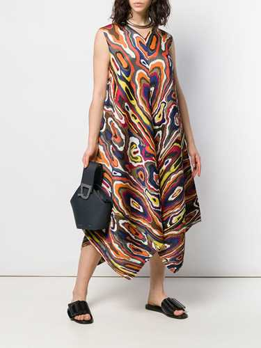 Picture of Issey Miyake Pleats Please | Asymmetric Printed Dress