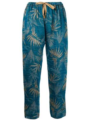 Picture of Forte_Forte | Cropped Foliage Print Trousers