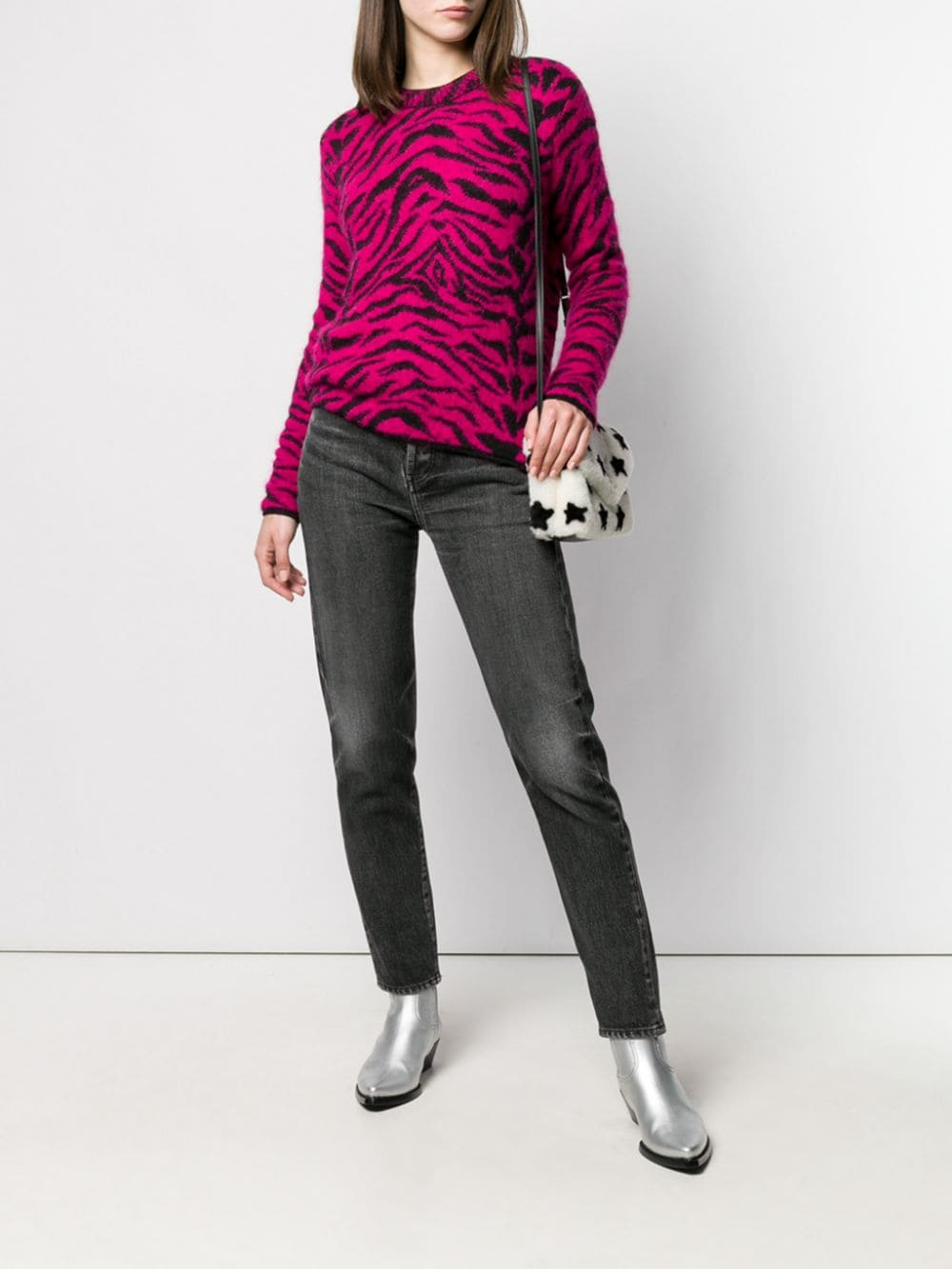 Picture of Saint Laurent | Zebra Intarsia Sweater