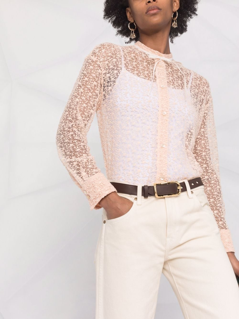 Picture of Forte_Forte | Lace-Design Shirt