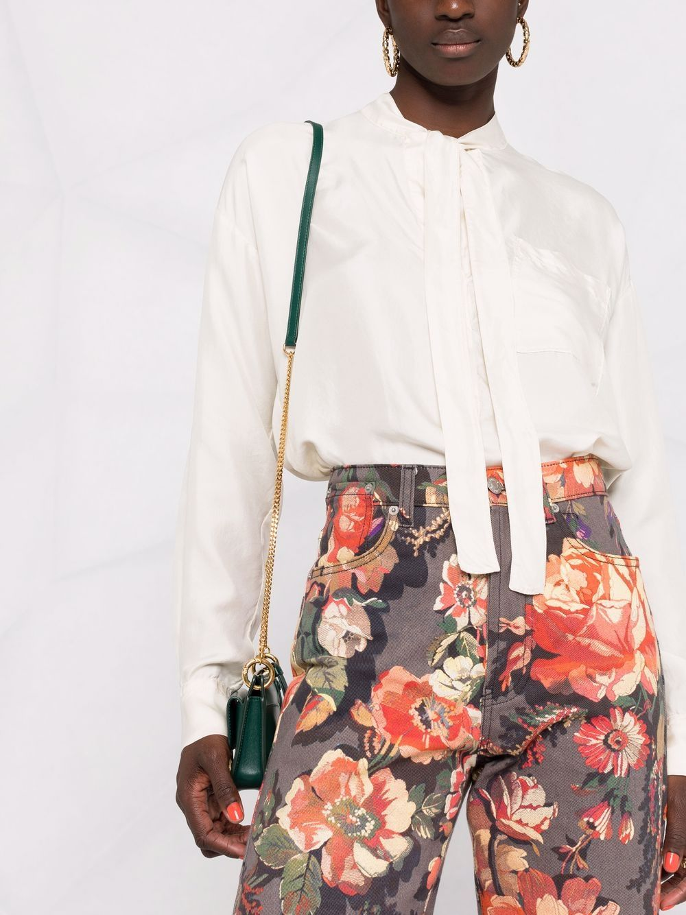 Picture of Forte_Forte   Pussy-Bow Fitted Silk Blouse