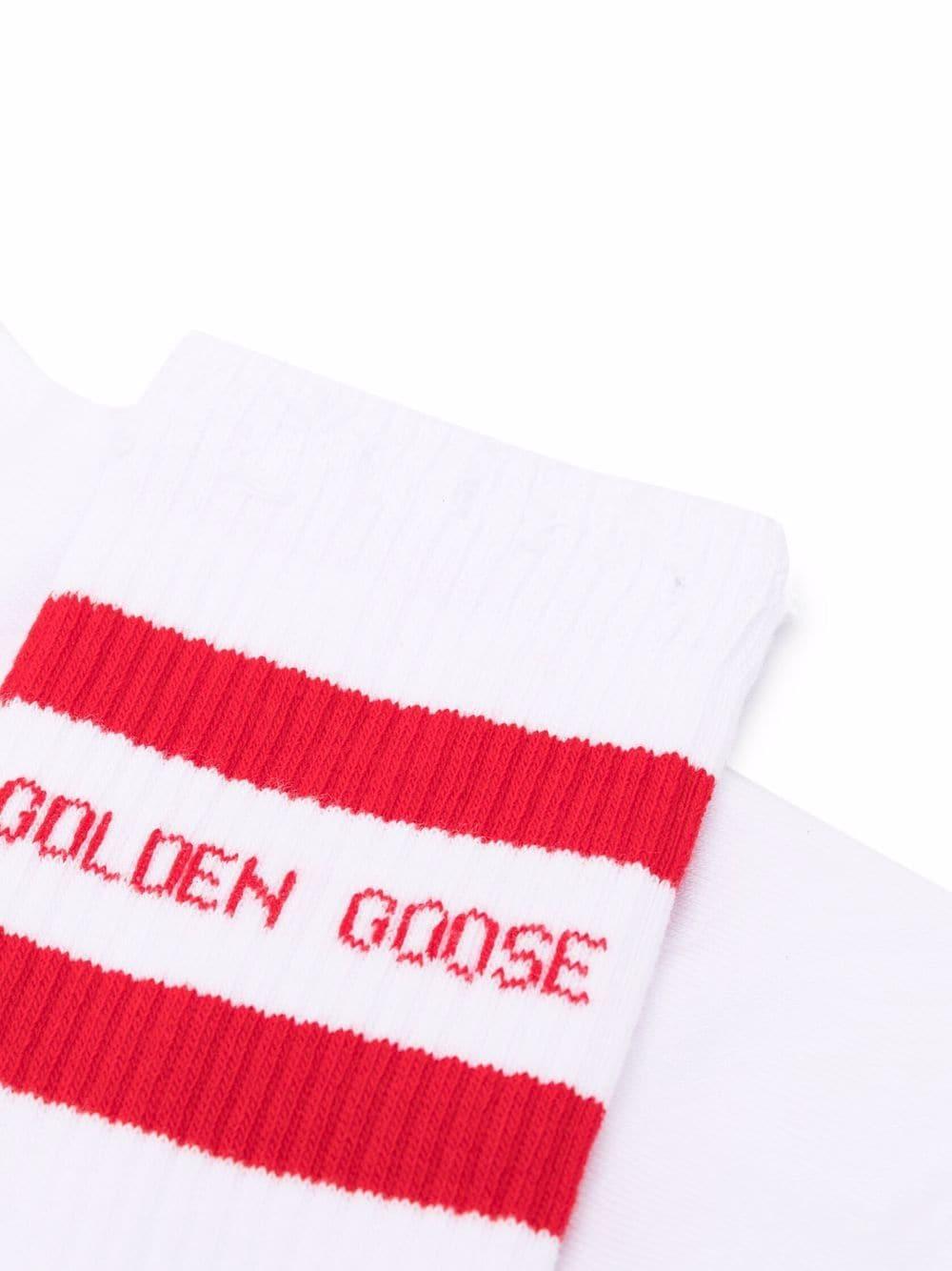 Picture of Golden Goose Deluxe Brand   Stripe Trim Ribbed Socks