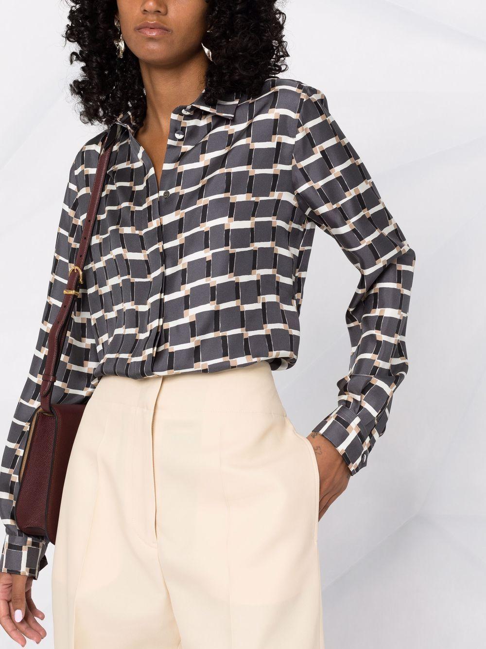 Picture of Aspesi   Geometric-Print Silk Shirt