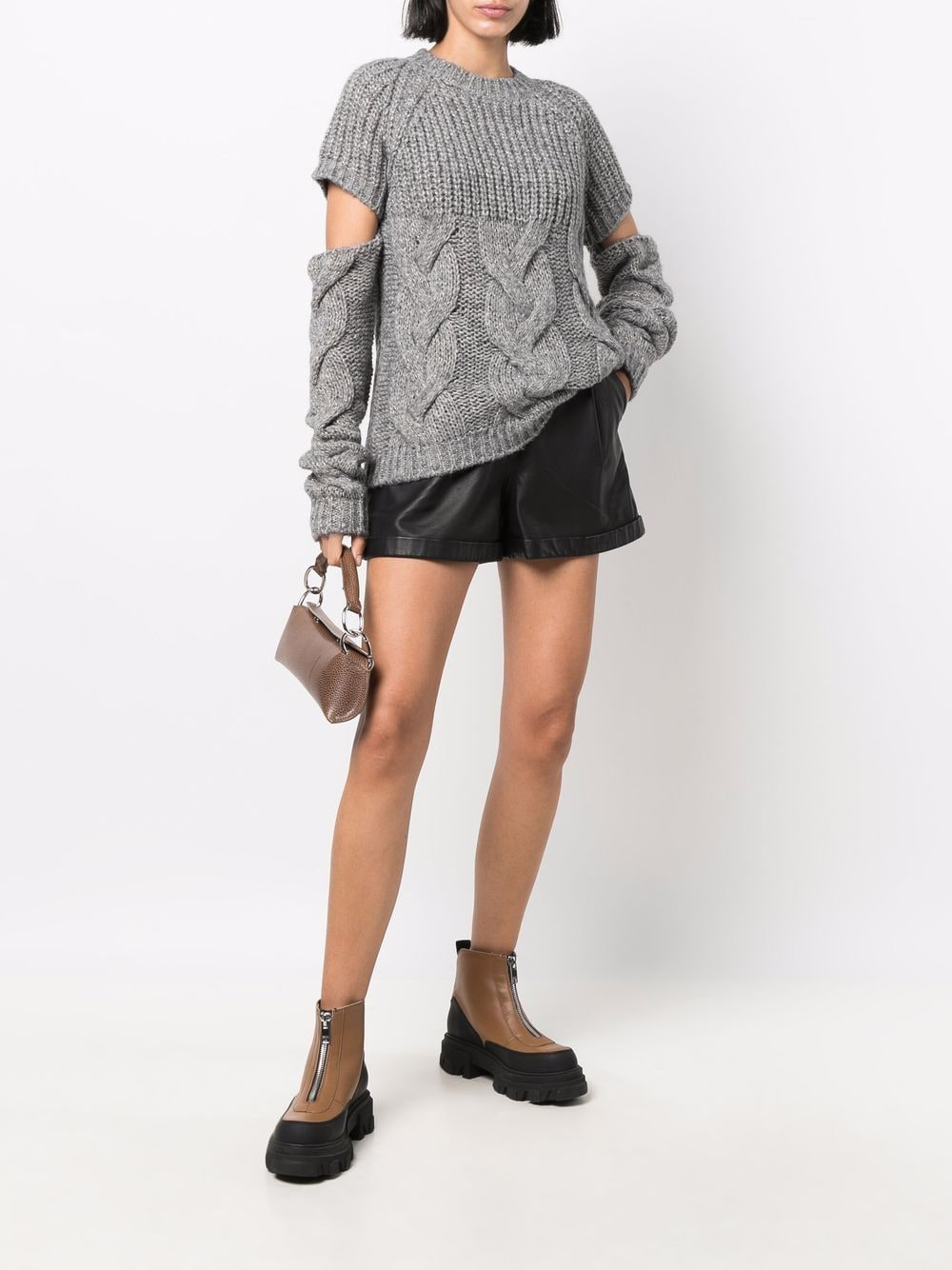 Picture of Semicouture | Cable-Knit Cut-Out Jumper