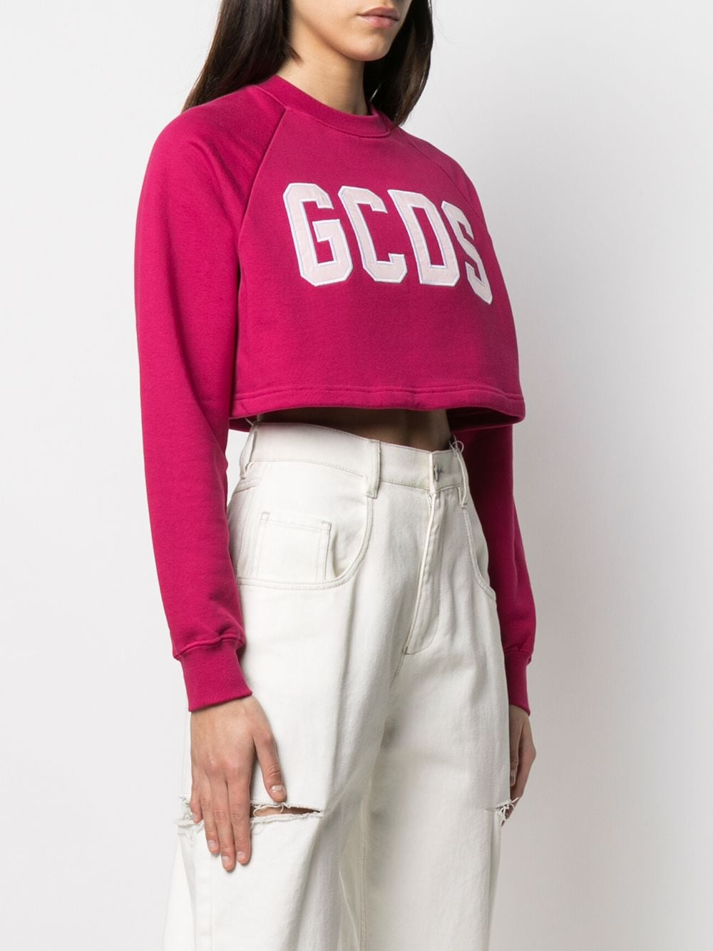 Picture of Gcds | Cropped Logo-Appliqué T-Shirt