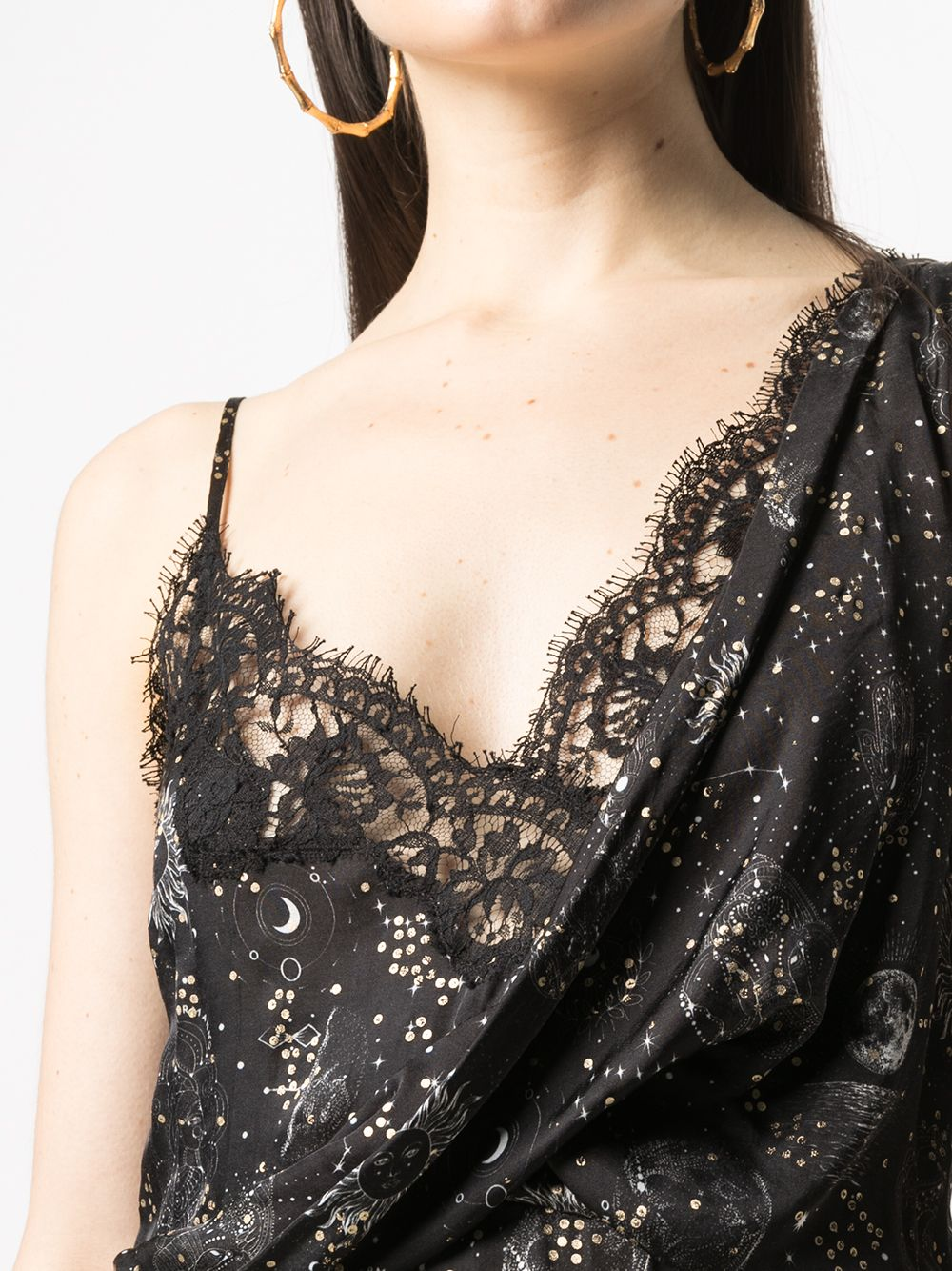 Picture of Ermanno Ermanno | Celestial-Print Draped Slip Dress