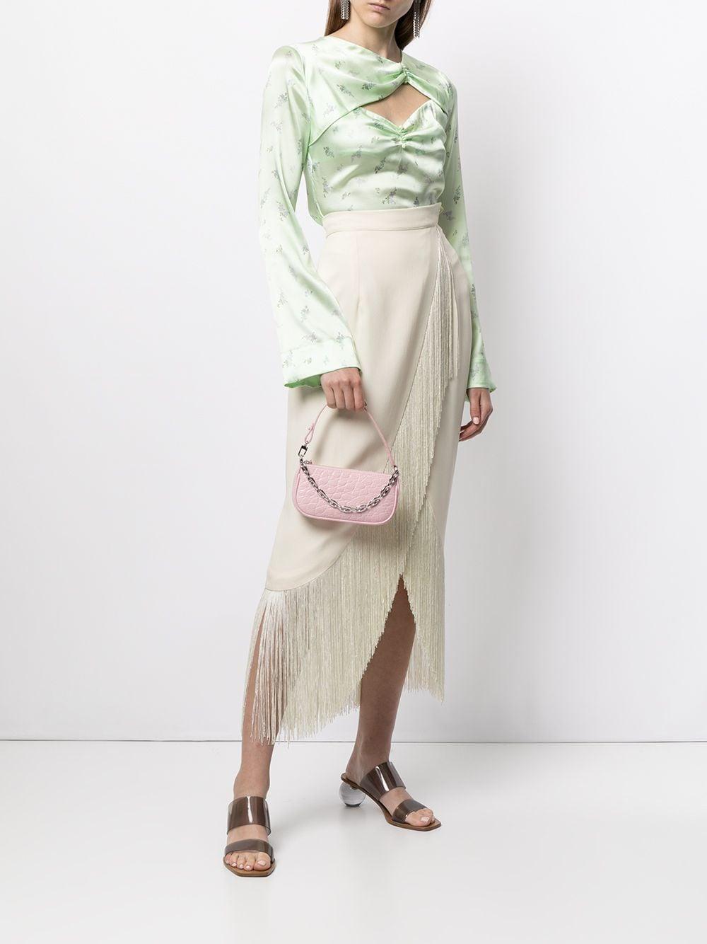 Picture of By Far   Mini Rachel Crocodile-Embossed Shoulder Bag