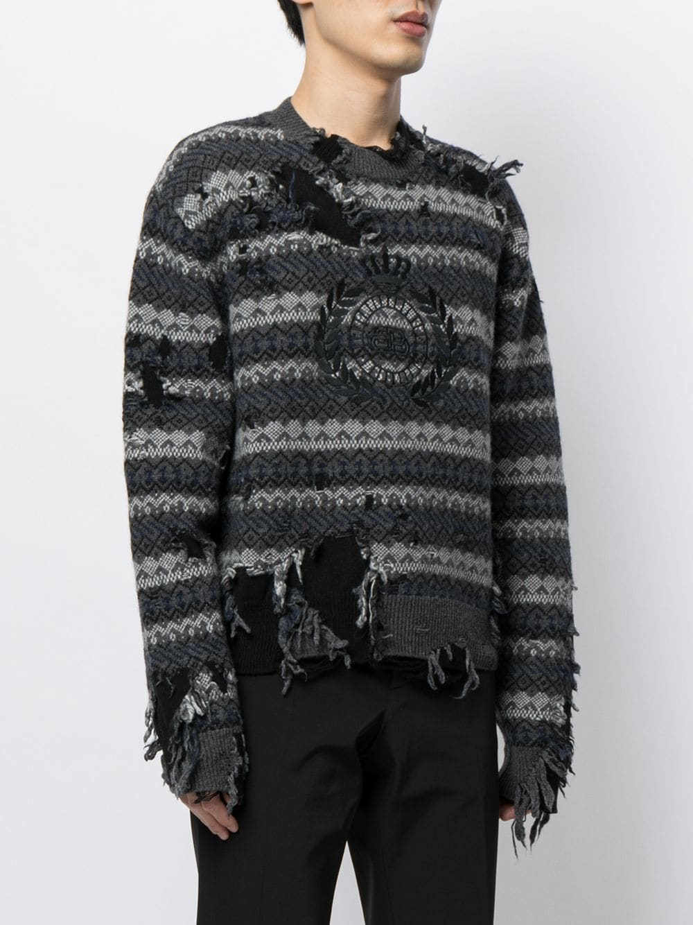 Picture of Balenciaga | Destroyed Crew Neck Jumper