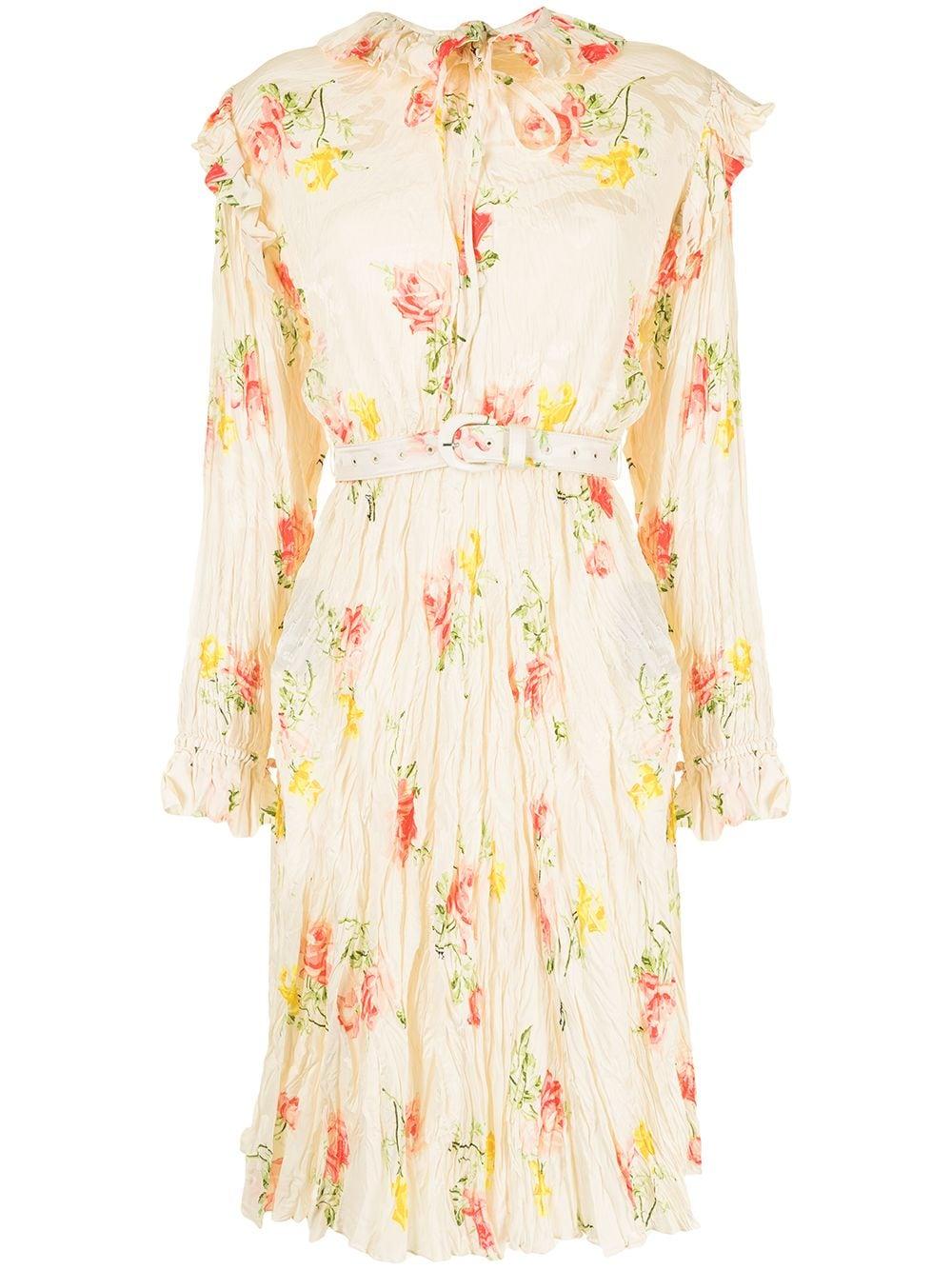 Picture of Balenciaga   Off-Shoulder Crinkle-Effect Floral-Jacquard Dress