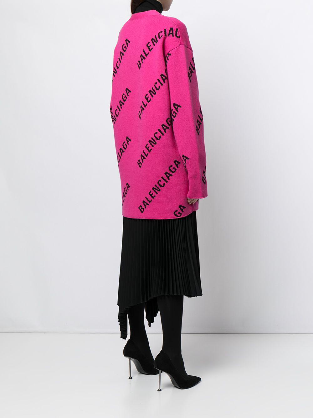 Picture of Balenciaga | Logo-Intarsia Oversized Cardigan