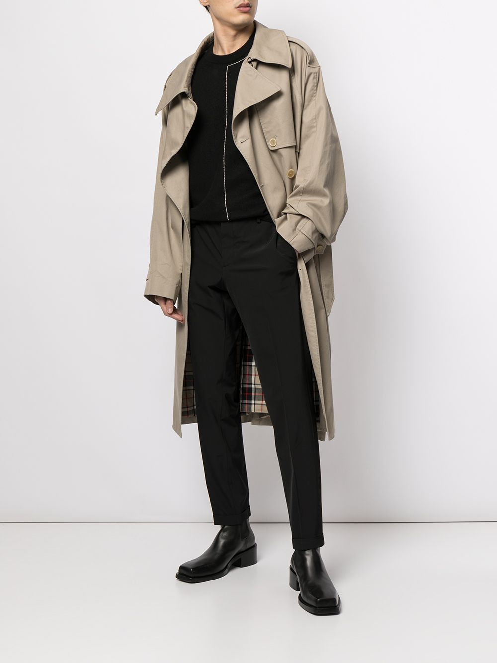 Picture of Balenciaga | Asymmetric-Lapels Trench Coat
