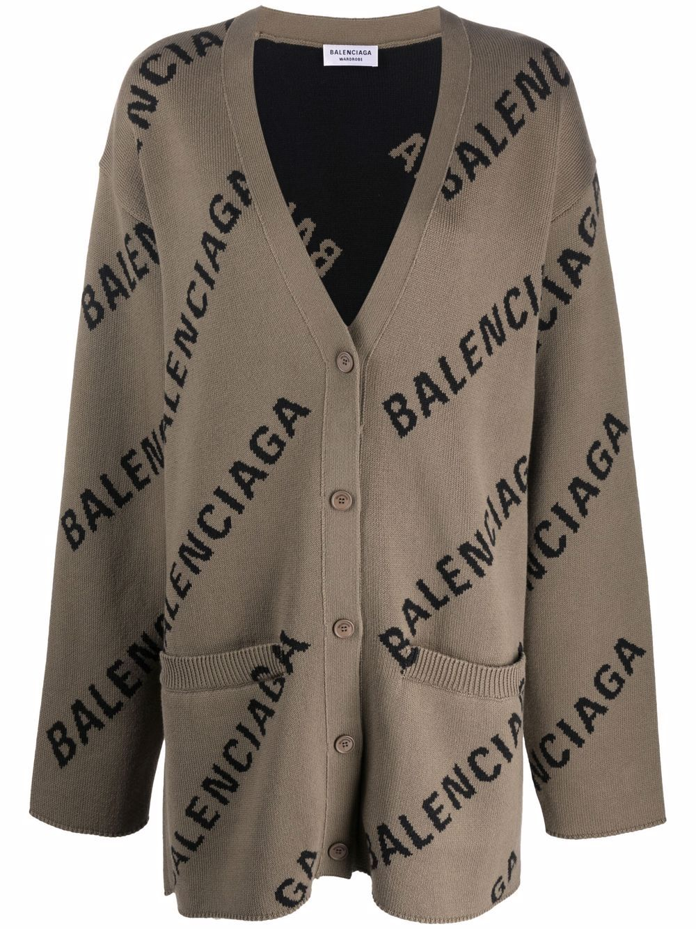 Picture of Balenciaga   Logo-Intarsia Oversized Cardigan