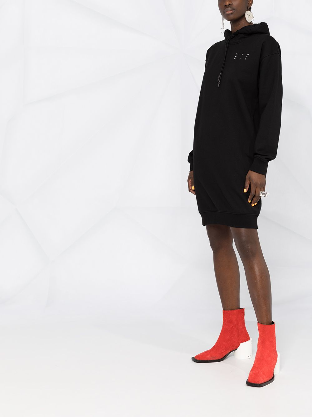 Picture of Mcq | Logo Print Hooded Dress
