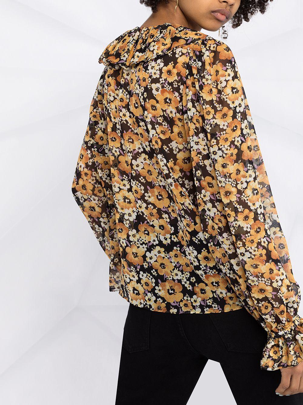 Picture of Saint Laurent   Frilled Tie Silk Blouse