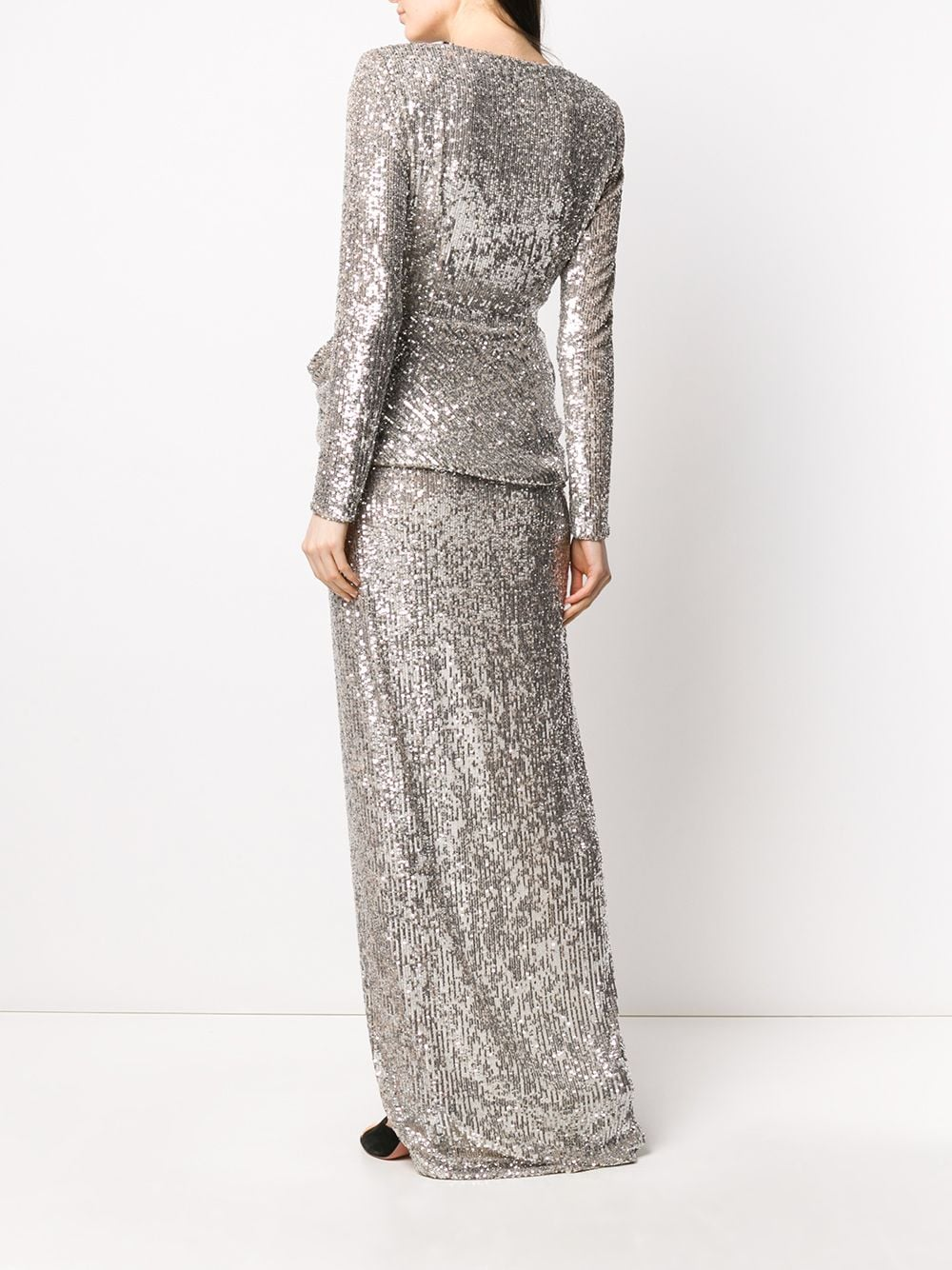 Picture of Nervi | Sequin-Embellished Draped Cocktail Dress