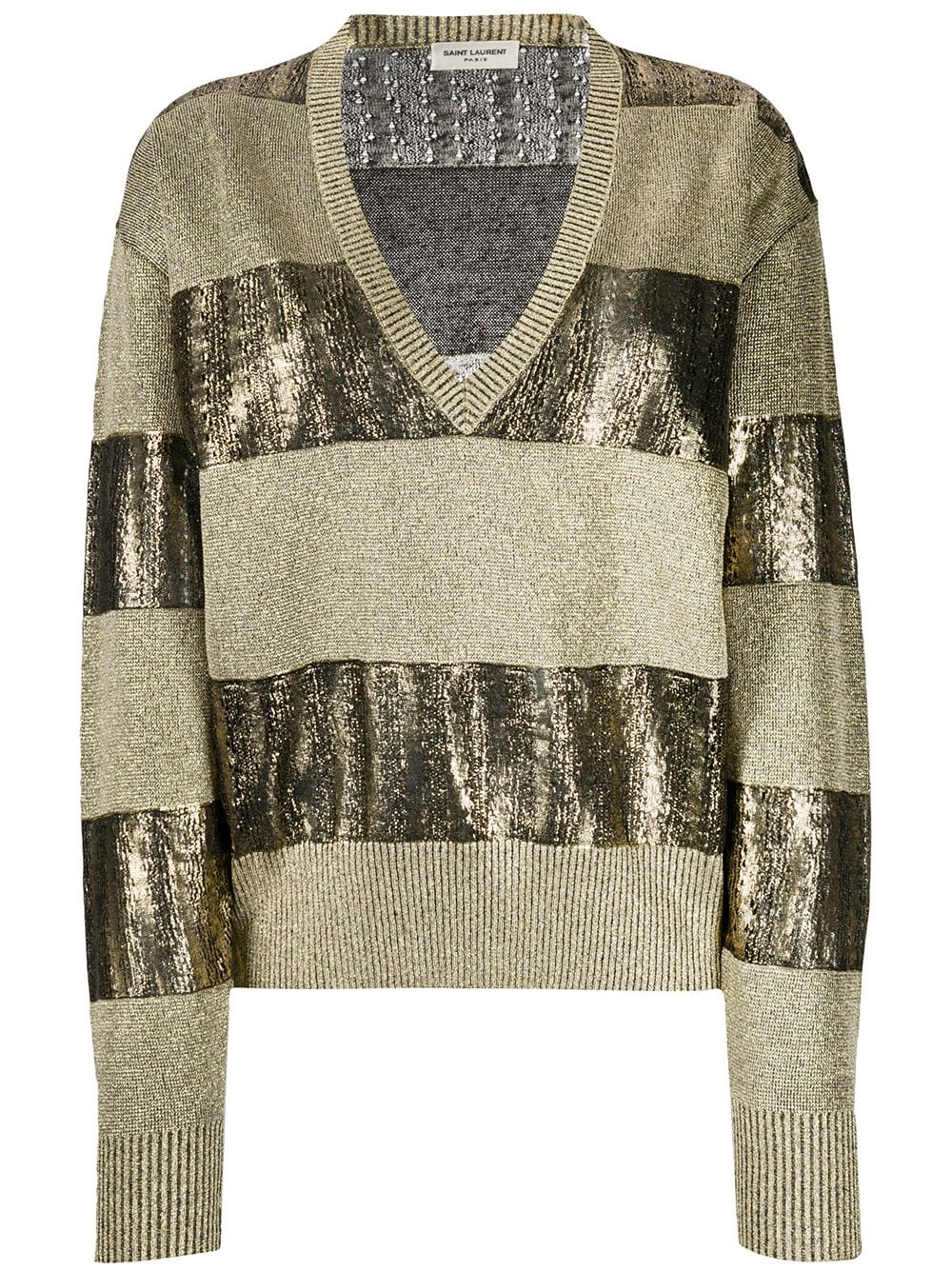 Picture of Saint Laurent | Horizontal Striped Knitted Jumper