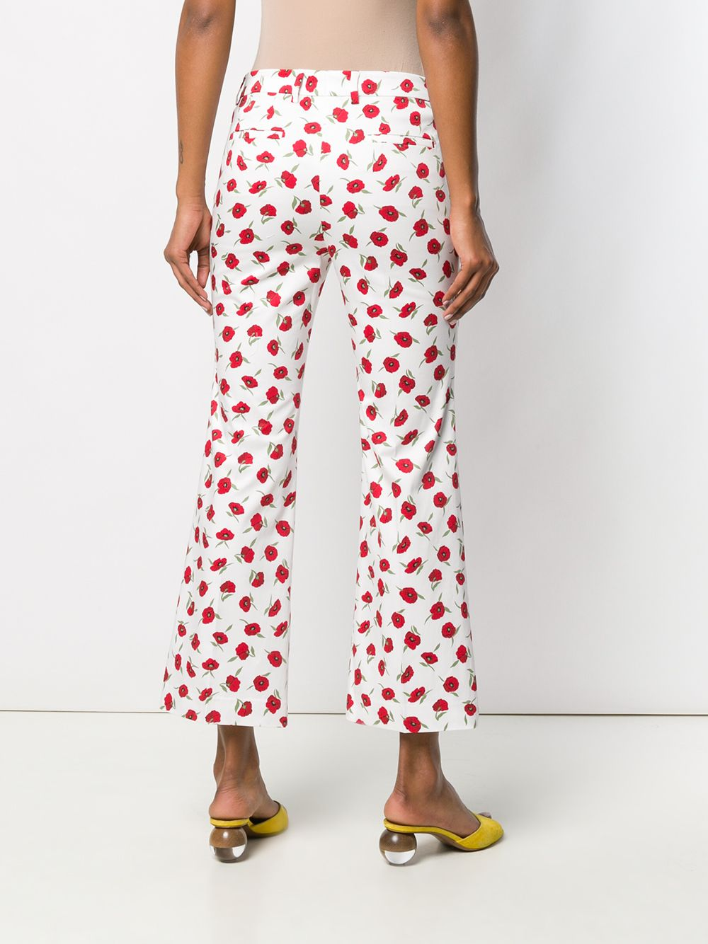 Picture of Incotex | Cropped Poppy Print Trousers