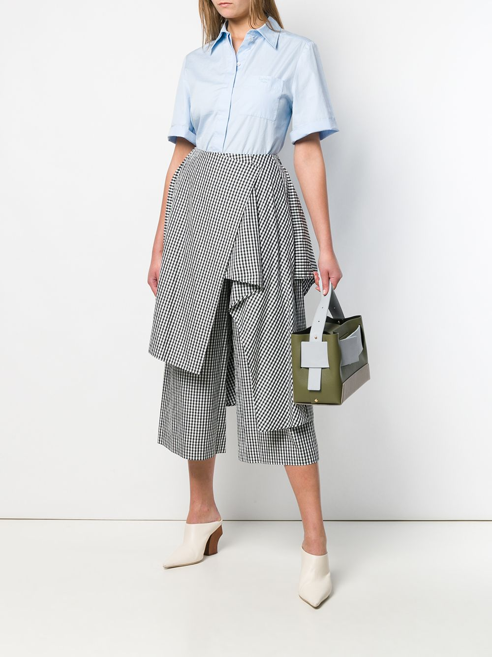 Picture of Enfold | Cropped Trousers With Overlay Design