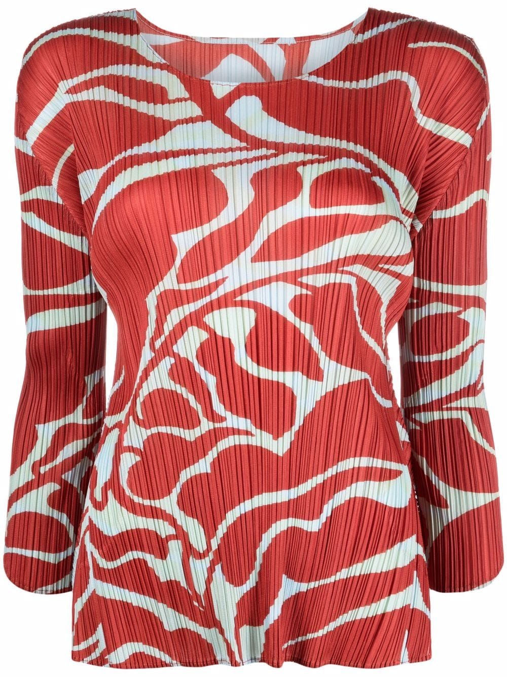 Picture of Issey Miyake Pleats Please   Leaf-Print Pleated Blouse