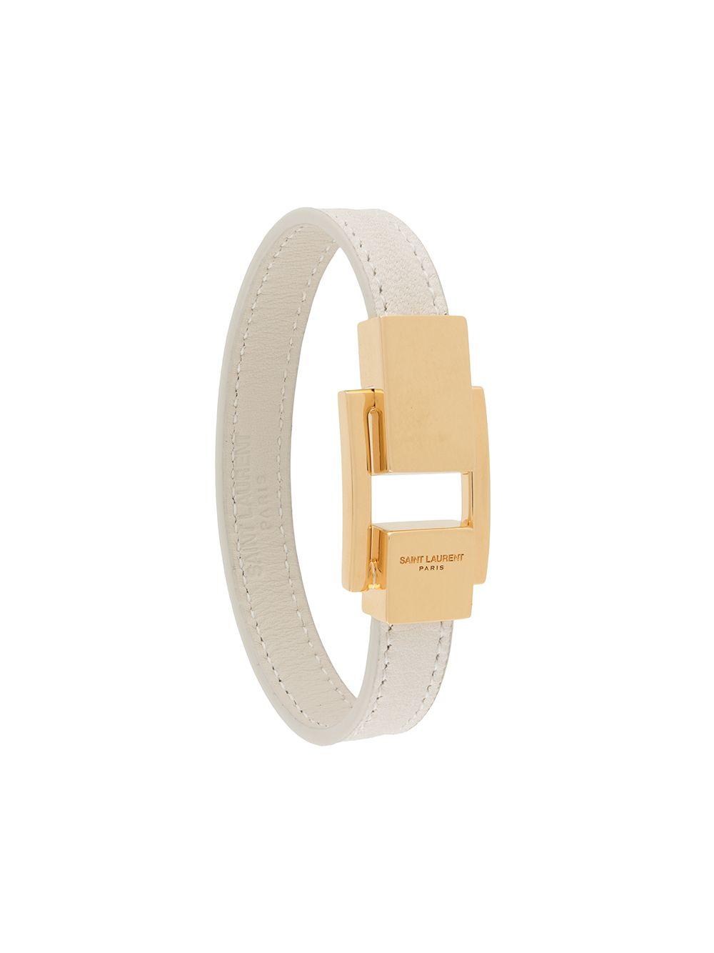 Picture of Saint Laurent | Logo Clasp Leather Bracelet