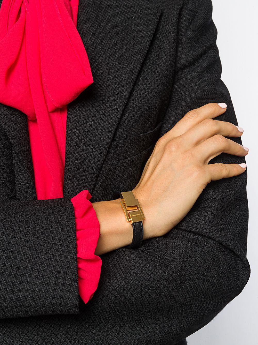 Picture of Saint Laurent | Carré Logo-Engraved Clasp Bracelet