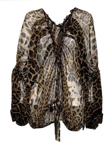 Picture of Saint Laurent | Leopard Print Chiffon Blouse