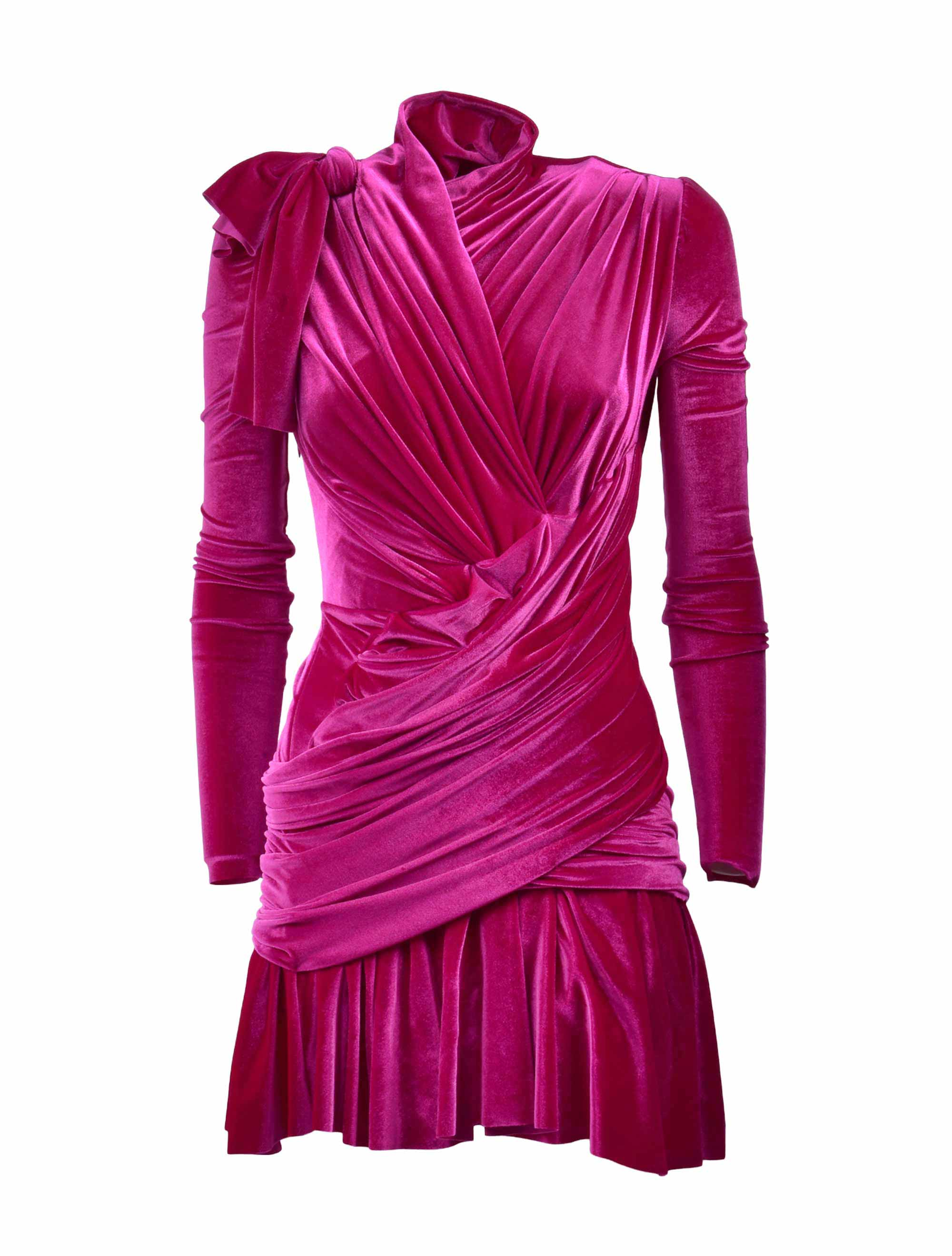 Picture of Balenciaga | Long-Sleeve Draped Dress