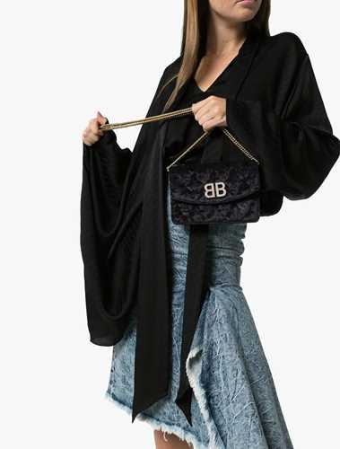 Picture of Balenciaga   Velvet Bb Crystal Logo Bag