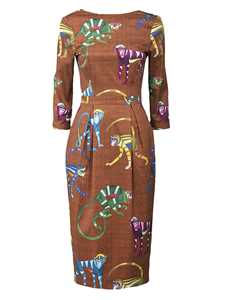 Picture of Stella Jean | Cotton Dress With Monkeys Print