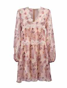 Picture of Giamba | Lace Trim Floral Dress