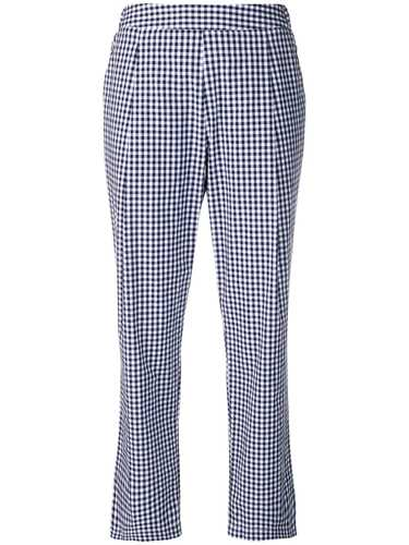Picture of Semicouture | Checked Straight-Leg Trousers