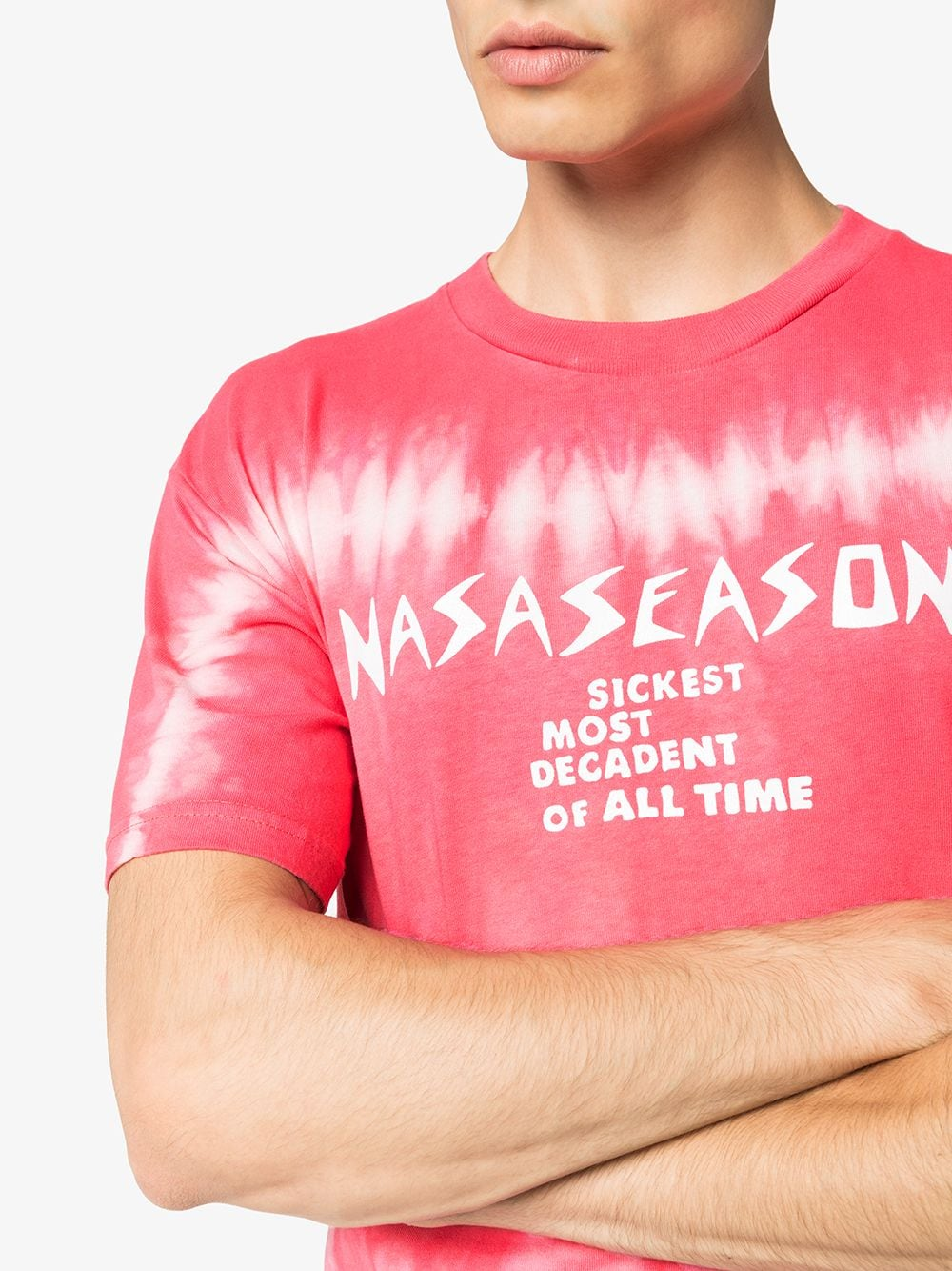 Picture of Nasaseasons | Tie-Dye Slogan Print T-Shirt