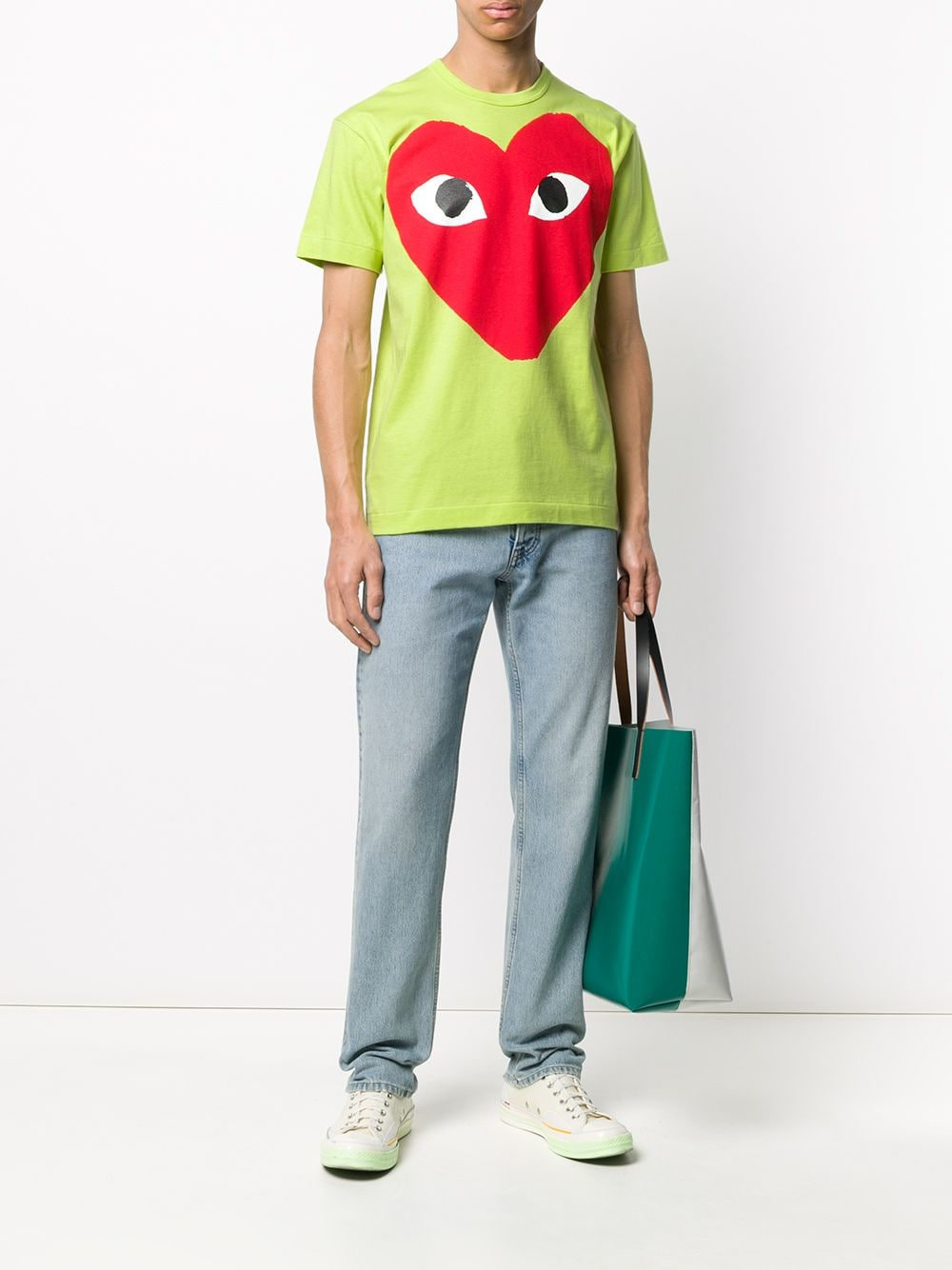 Picture of Comme Play | Oversized Heart Print T-Shirt