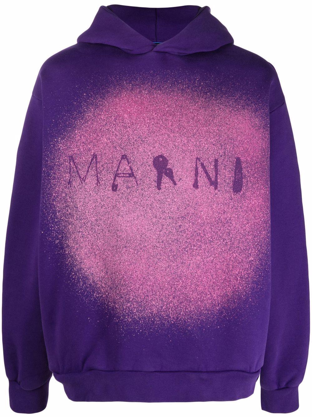 Picture of Marni | Paint Splatter Logo-Print Hoodie