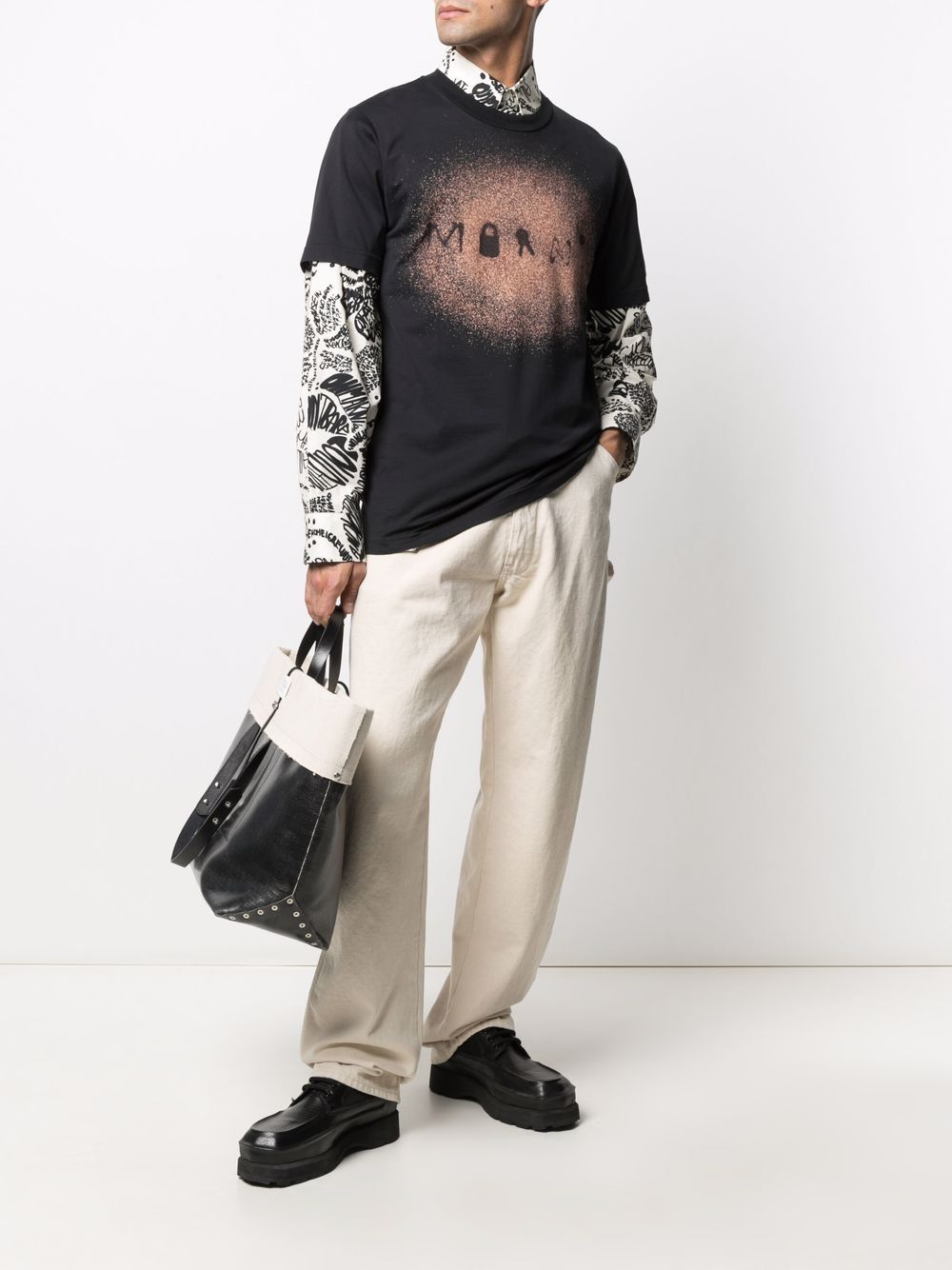 Picture of Marni   Paint-Detail Logo T-Shirt