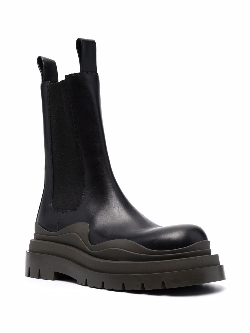 Picture of Bottega Veneta | Chunky Two-Tone Leather Boots