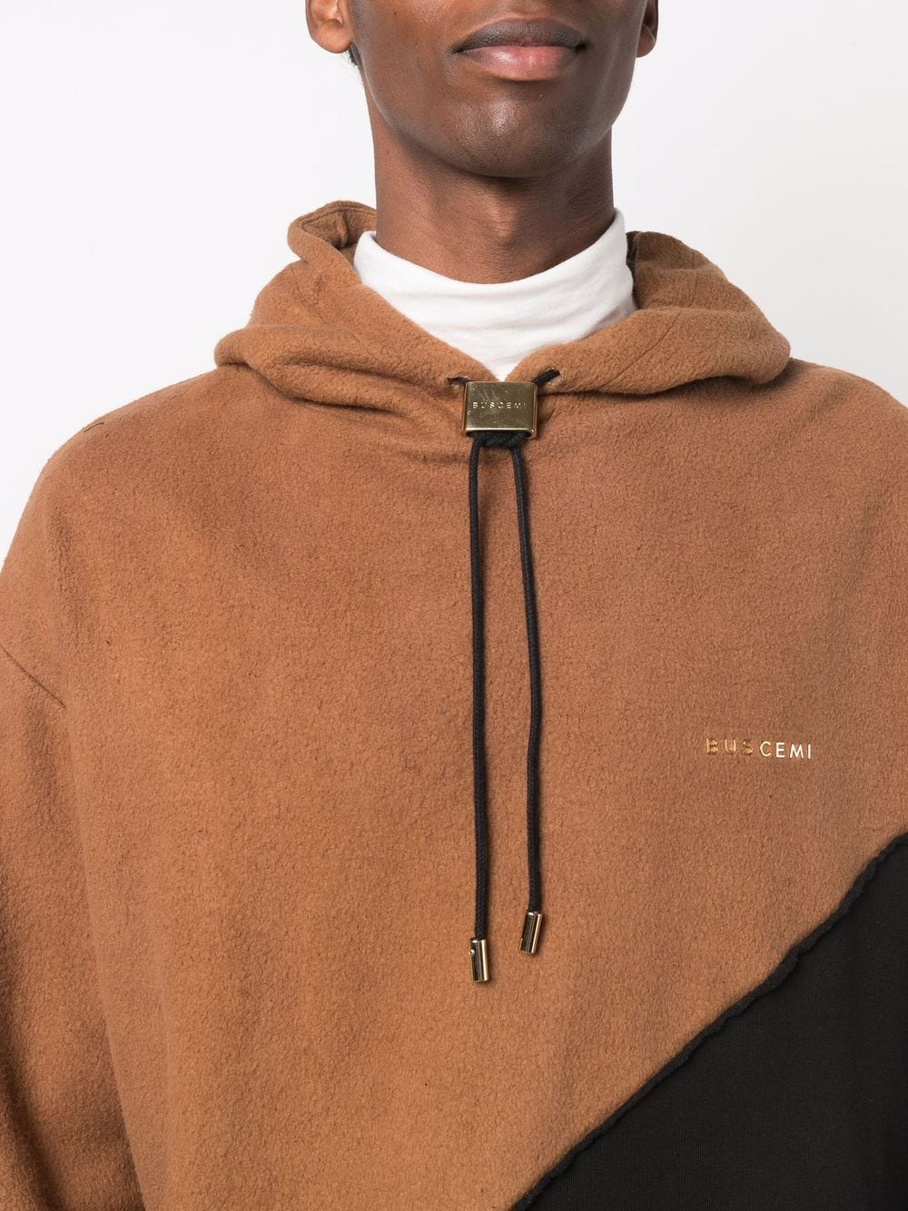 Picture of Buscemi   Colour-Block Panelled Drawstring Hoodie